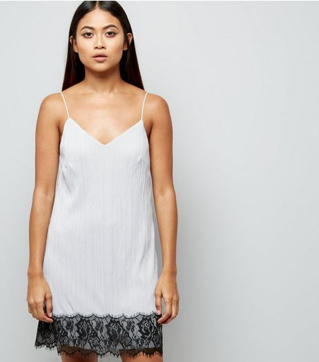 Petite Pale Grey Lace Trim Pleated Slip Dress | New Look