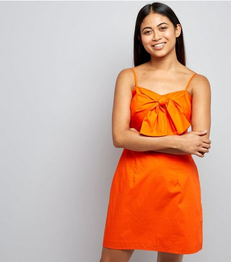 Petite Orange Tie Front Slip Dress | New Look