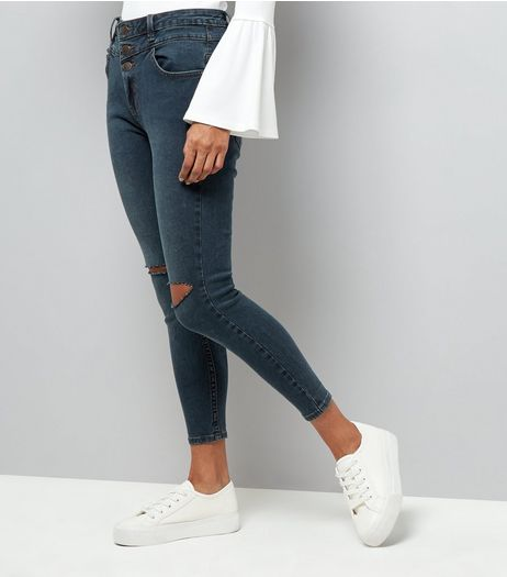 Petite Navy Ripped Knee Skinny Jeans  | New Look