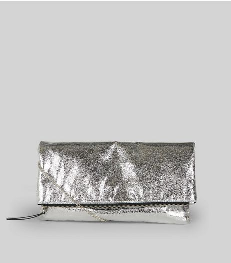 Silver Metallic Fold Over Shoulder Bag | New Look