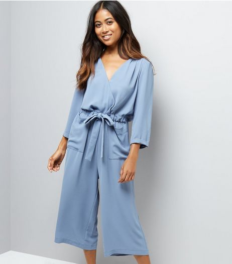 Petite Grey Wrap Front Culotte Jumpsuit | New Look