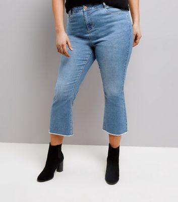 Curves Blue Cropped Bootcut Jeans