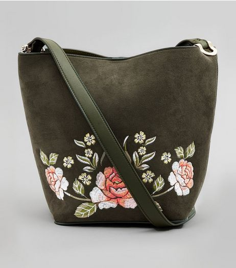 Khaki Suedette Floral Embroidered Bucket Bag | New Look