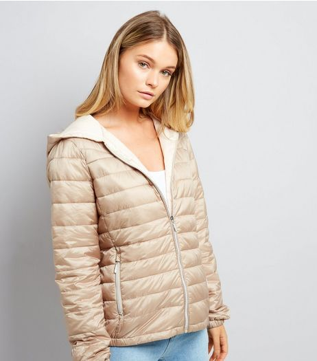 Stone Lightweight Puffer Jacket | New Look