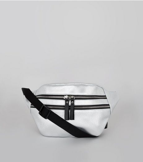 Silver Double Zip Bumbag | New Look