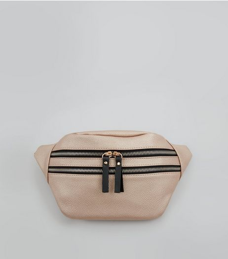 Rose Gold Double Zip Bumbag | New Look