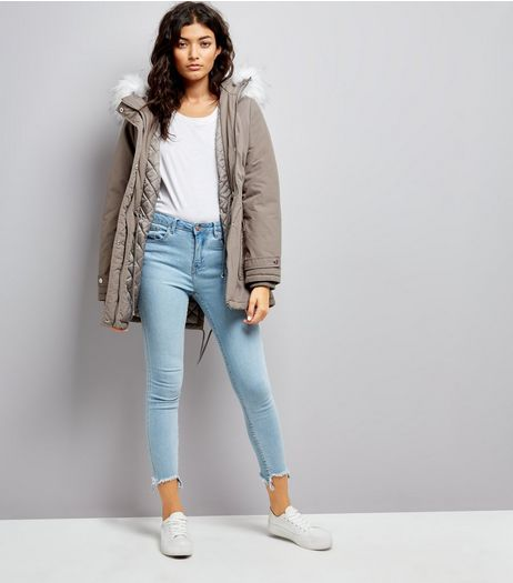 Grey Faux Fur Trim Hooded Parka | New Look