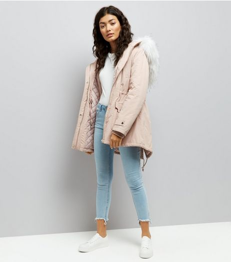 Pink Faux Fur Trim Hooded Parka | New Look
