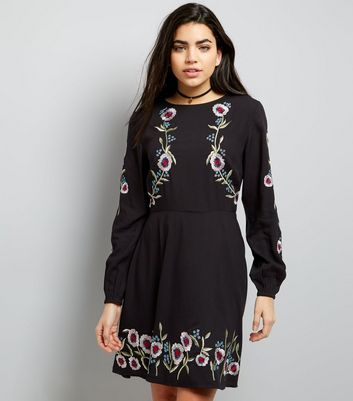 Black Floral Embroidered Long Sleeve Skater Dress