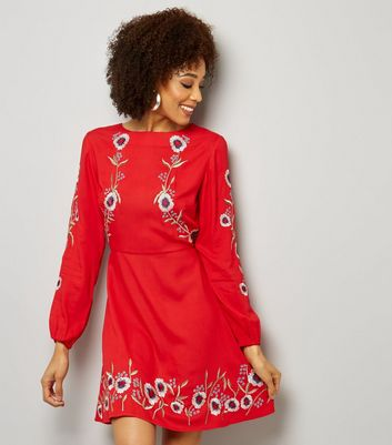 Red Floral Embroidered Long Sleeve Skater Dress