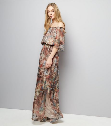 Mela Shell Pink Floral Print Maxi Dress  | New Look