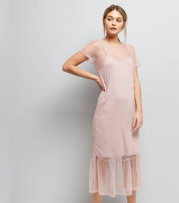 Pink Spot Print Mesh Midi Dress