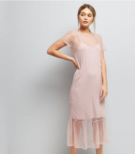 Pink Spot Print Mesh Midi Dress | New Look