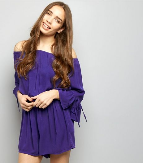 Purple Bardot Neck Bell Sleeve Playsuit | New Look