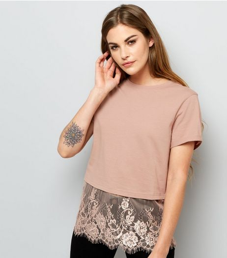 Pink Lace Hem T-Shirt  | New Look