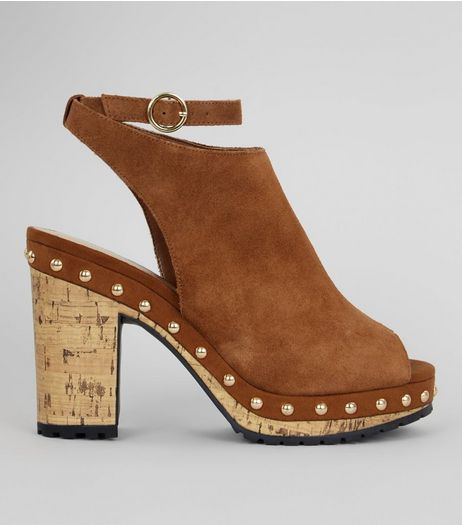 Tan Suede Stud Side Heeled Clogs | New Look