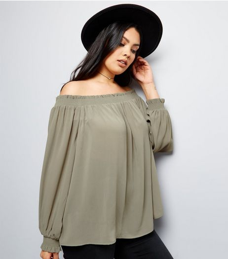 Curves Khaki Shirred Bardot Neck Top | New Look