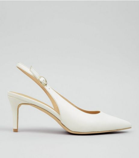 White Pointed Sling Back Heels | New Look