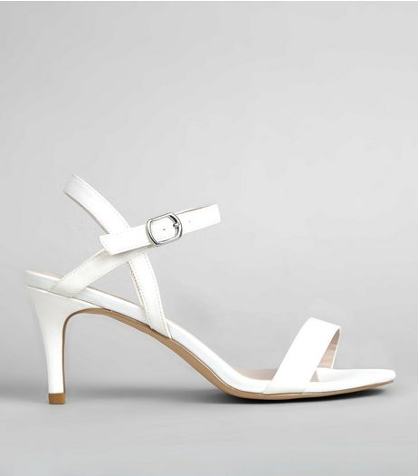 White Sateen Ankle Strap Heels | New Look