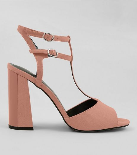 Pink Suedette Contrast Flared Block Heels | New Look