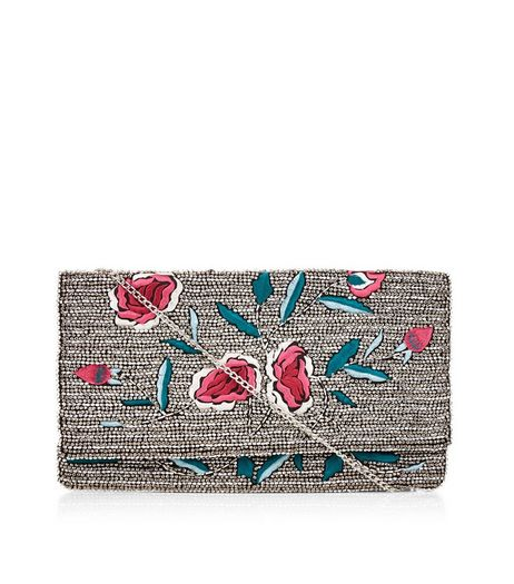 Silver Floral Embroidered Beaded Clutch | New Look
