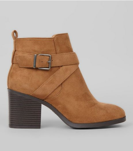 Wide Fit Tan Suedette Square Toe Heeled Boots | New Look