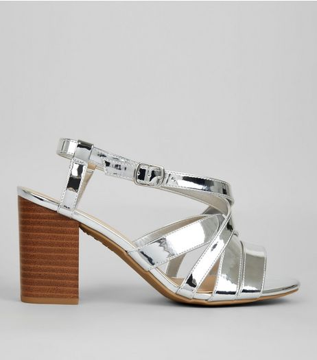 Wide Fit Silver Contrast Block Heeled Sandals | New Look