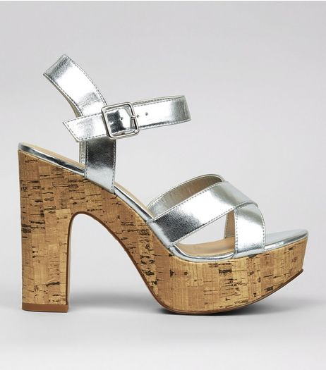 Wide Fit Silver Cork Platform Heels | New Look