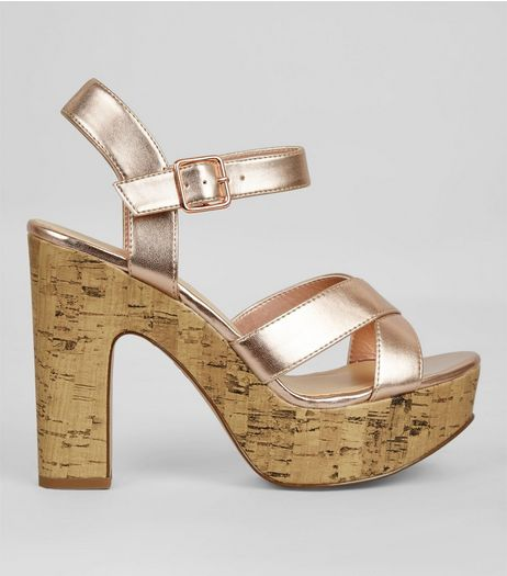 Wide Fit Rose Gold Cork Platform Heels | New Look