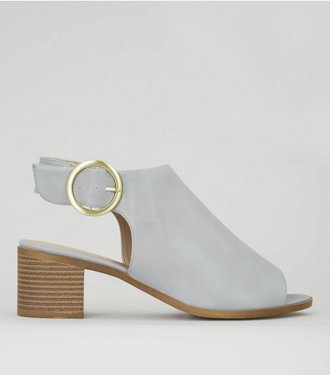 Wide Fit Grey Buckle Strap Sling Back Heels | New Look