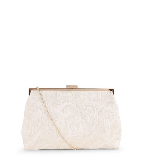 Cream Jaquard Chain Strap Clutch | New Look