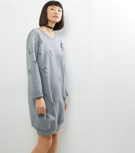 Cameo Rose Grey Ripped Sweater Dress | New Look