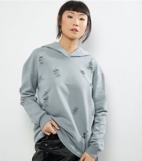 Cameo Rose Grey Ripped Hoodie | New Look