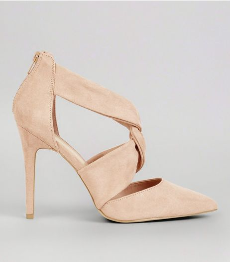 Wide Fit Pink Suedette Twist Strap Front Heels | New Look