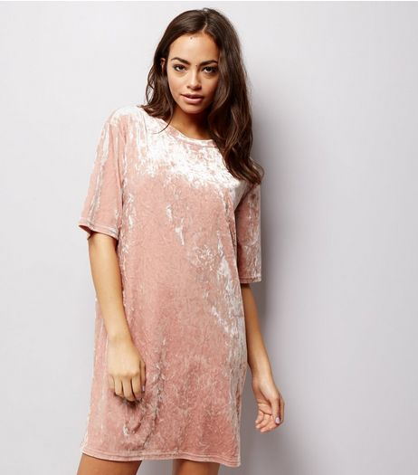 Shell Pink Crushed Velvet Tunic Dress | New Look