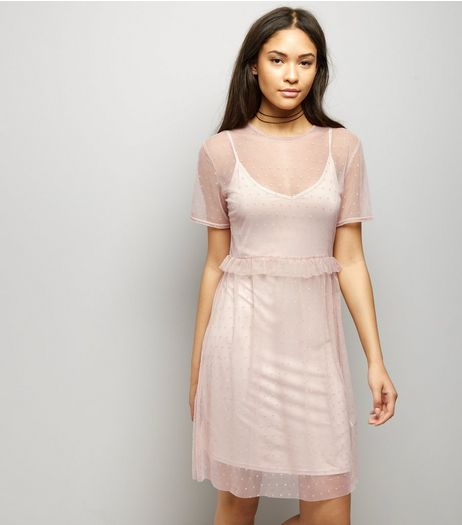 Shell Pink Frill Trim Mesh Smock Dress | New Look