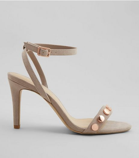 Wide Fit Grey Stud Strap Heeled Sandals | New Look