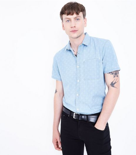 Blue Patterned Short Sleeve Denim Shirt | New Look