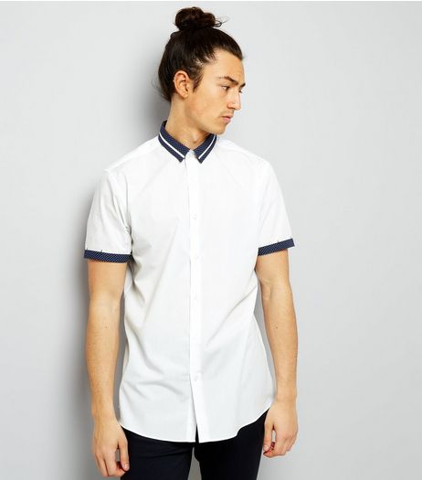 White Spot Print Trim Short Sleeve Shirt | New Look