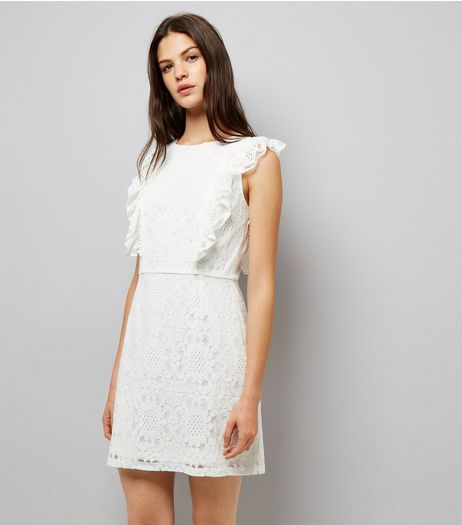 Blue Vanilla White Frill Trim Sleeveless Dress  | New Look