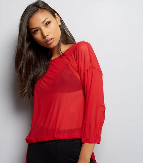 Red Mesh Drawstring 3/4 Sleeve Top  | New Look