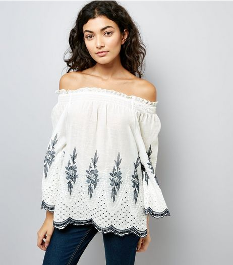 QED White Floral Embroidered Bardot Neck Top | New Look