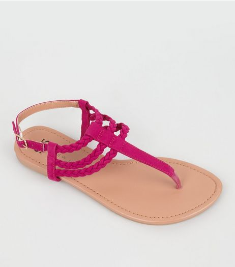 Teens Pink Suedette Plaited Sandals  | New Look