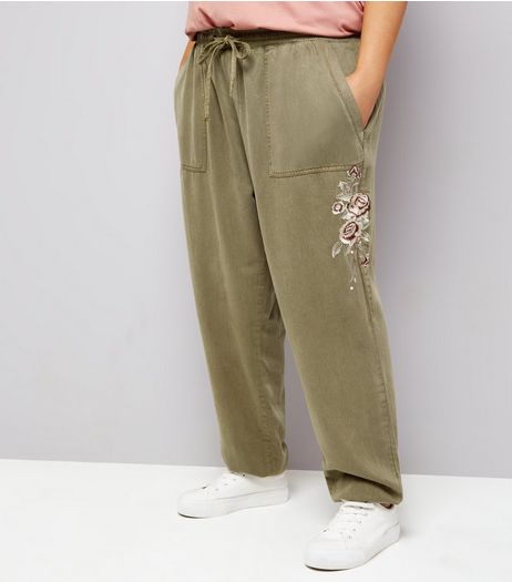 Curves Khaki Floral Embroidered Joggers | New Look