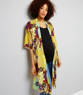 Maternity Yellow Floral Longline Kimono