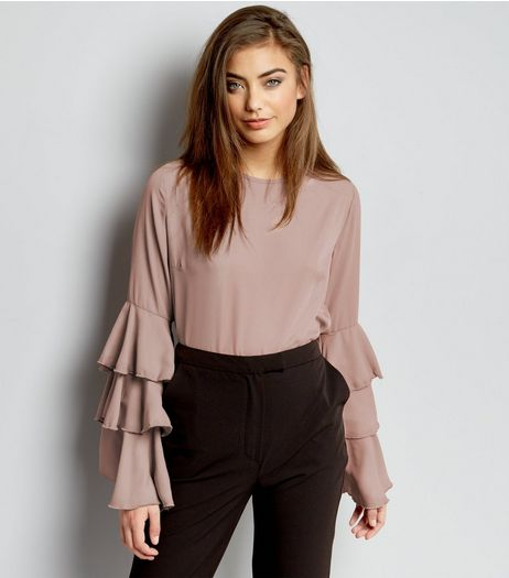 Shell Pink Layered Frill Sleeve Top | New Look