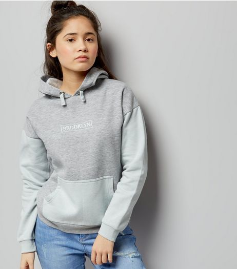 Teens Grey Colour Block Brooklyn Embroidered Hoodie | New Look