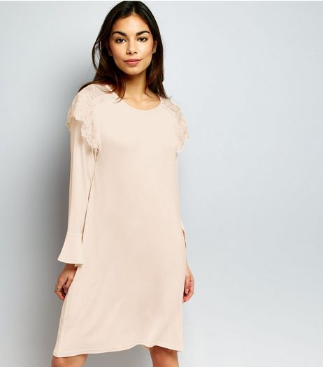 QED Shell Pink Frill Trim Swing Dress  | New Look