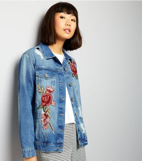 Parisian Blue Floral Patch Ripped Denim Jacket | New Look
