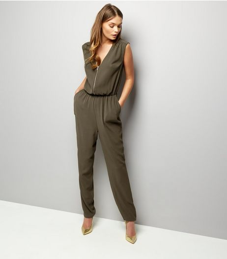 Khaki Zip Front Sleeveless Jumpsuit | New Look